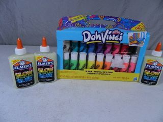 New Play Doh Doh Vinci and 3 New Bottles of Glow in the Dark Glue