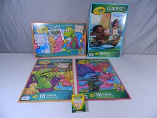 4 New Giant Coloring Books and Crayons