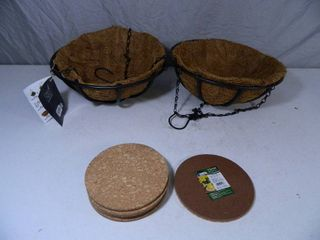2 New Hanging Basket Planters and 6 New Cork Mats