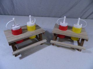 2 New Mini Picnic Table Condiment Tables