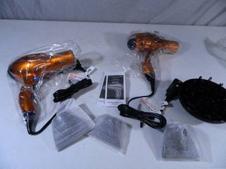 2 New Conair Hairdryers with Attachments