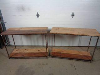 2 Metal / Wood Boutique Multi-Use Display Shelves