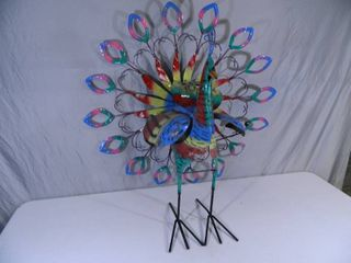 New Large Recycled Metal Garden Art Spinning Peacock