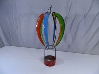 New Large Recycled Metal Garden Art Spinning Hot Air Balloon Planter