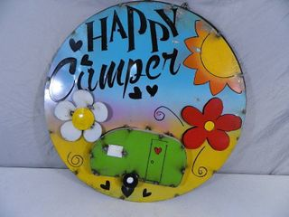 New Large Recycled Metal Garden Art Happy Camper Sign