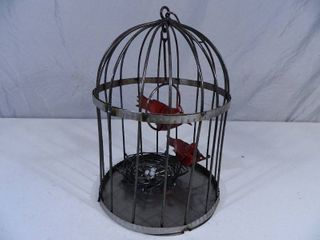 New Recycled Metal Garden Art Birdcage with Birds