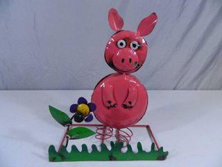 New Recycled Metal Garden Art Bobble Pig