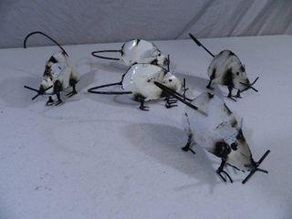 5 New Recycled Metal Garden Art Mice