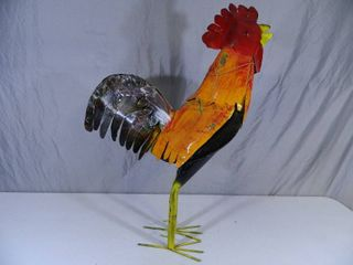 New Large Recycled Metal Garden Art Rooster