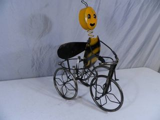 New Recycled Metal Garden Art Bee on Trike Planter