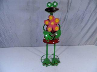 New Recycled Metal Garden Art Bobblehead Frog
