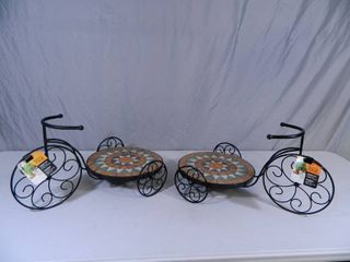 2 New Tricycle Mosaic Plant Stands