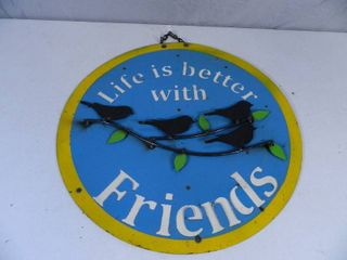 New Large Recycled Metal Garden Art Friends Sign
