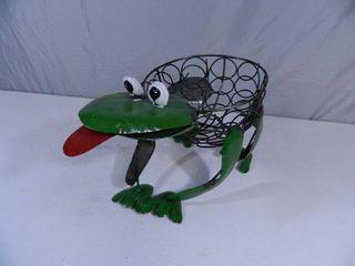 New Recycled Metal Garden Art Frog Planter