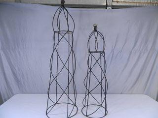 2 New Recycled Metal Statue / Vine Trellis