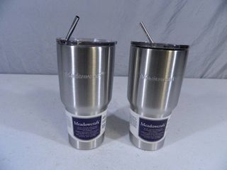 2 New Stainless Steel Vacuum Insulated Tumblers with Metal Straws