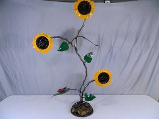 New Large Recycled Metal Garden Art Sunflowers and Ladybug
