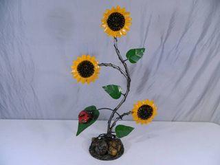 New Recycled Metal Garden Art Sunflowers and Ladybug