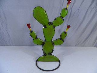 New Recycled Metal Garden Art Flowering Cactus