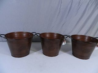 3 New Brushed Copper 10 inch Washtub Planters