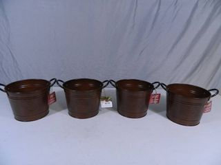 4 New Brushed Copper 8 inch Washtub Planters