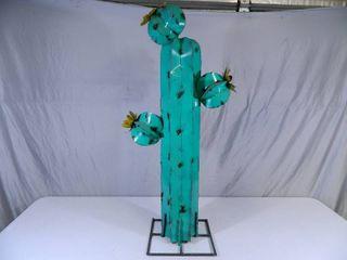 New Large Recycled Metal Garden Art Flowering Cactus