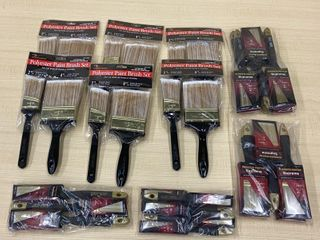 Lot Of (6) New 2-Packs Of Painters Brushes & (24) Assorted New Painters Brushes