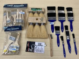 Lot Of Assorted Paint Brushes, Foam Brushes, Wire Brushes, Etc