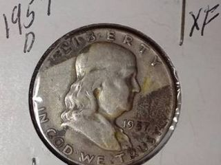 1957 D Franklin Half Dollar