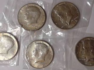 5x 1964 D Kennedy Half Dollars MS