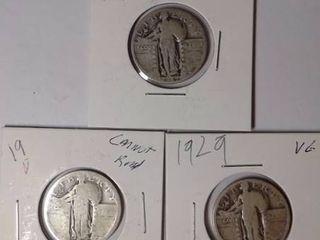 1927  1929  19 IJ Standing liberty Quarters