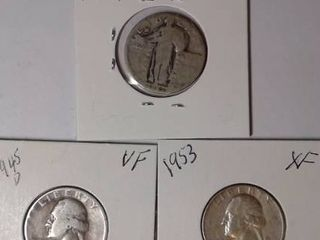 1927 Standing liberty  1945 D Washington  1953 Washington Quarters