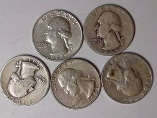 5x Washington Quarters  Mix Dates and Mints