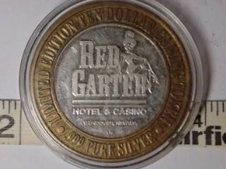 10 Gaming Token   Red Garter  Silver