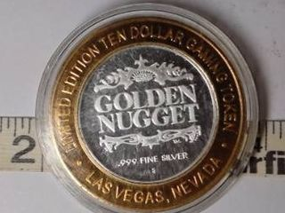 10 Gaming Token   Golden Nugget  Silver