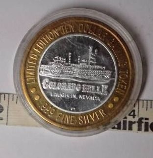 10 Gaming Token   Colorado Belle  Silver