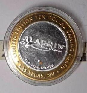 10 Gaming Token   Aladdin  Silver