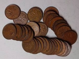 35x Canadian Pennies  1940 1970
