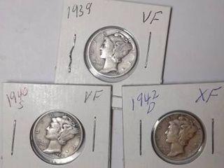 1939  1940 S   1942 D Mercury Dimes