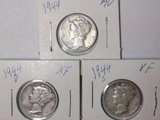 1944 D  1944 P   1944 S Mercury Dimes
