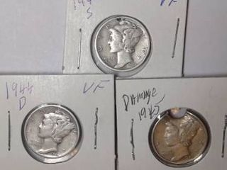 1942 S  1944 D   1945 Mercury Dimes