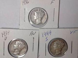 1936  1939 D   1944 S Mercury Dimes