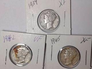 1939  1942   1945 Mercury Dimes