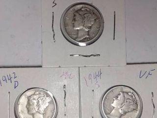 1940 S  1942 D   1944 S Mercury Dimes