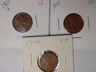 1920 S  1923   1928 Wheat Pennies