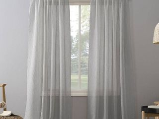 51 x95  Erica Crushed Sheer Voile Rod Pocket Curtain Panel Silver   No  918