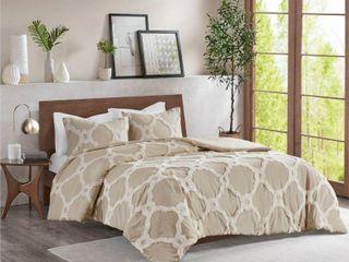 Madison Park Nollie Tufted Cotton Chenille Geometric Comforter  QUEEN