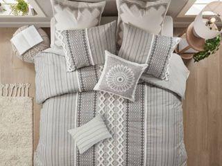 King California King Imani Cotton Duvet Cover Set Gray
