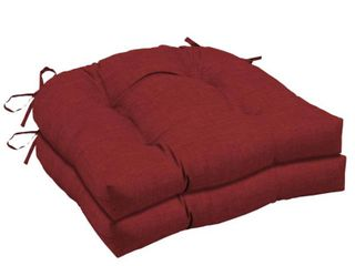 2pk leala Texture Wicker Outdoor Chair Cushions Ruby   Arden Selections
