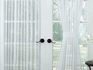 lorraine Home Fashions Harmony Window Door Curtain Panel  60 x 72 Inch  White